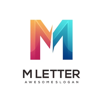 M letter logo colorful gradient illustration