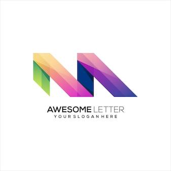 M letter logo colorful illustration