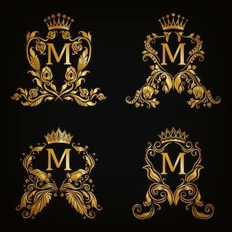 M letter logo set, victorian style