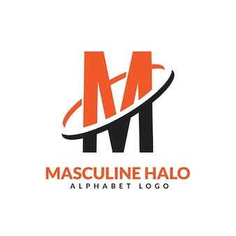 M文字オレンジと黒の男性的な幾何学的なリングのロゴベクトルアイコンイラスト