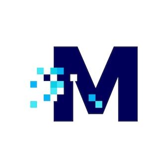 M 문자 픽셀 마크 디지털 8 비트 로고 벡터 아이콘 그림