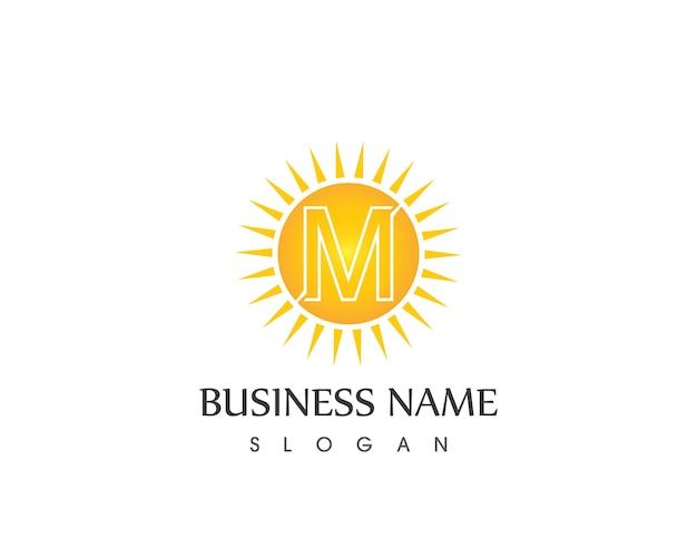 M 문자 태양 로고 디자인 서식 파일