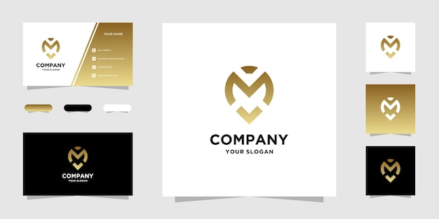 M location logo template and business card
