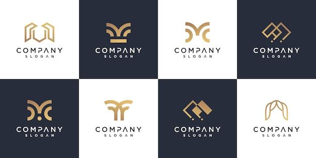 Коллекция логотипов m для бизнеса с золотой минималистской концепцией premium векторы