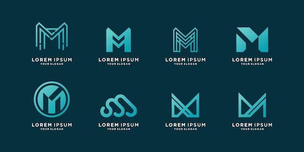 M logo collection with modern creative style premium vector