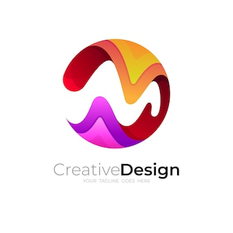M logo with circle design template, 3d colorful icon