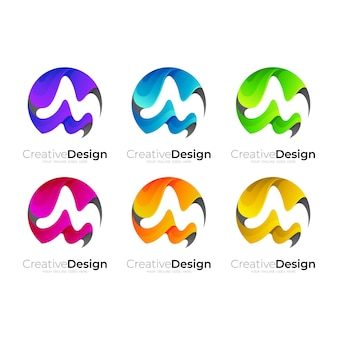 M logo with circle template in 3d colorful logos