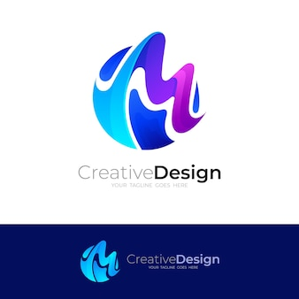 M logo with colorful design template