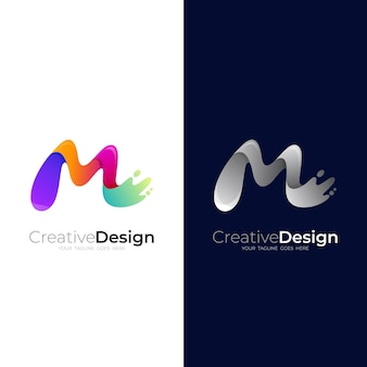 M logo with swoosh design, 3d colorful logos, water and paint logo