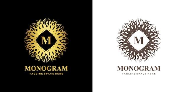 M monogram ornament emblem