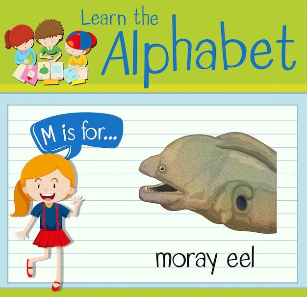 フラッシュカード文字mは、moray eel用です。