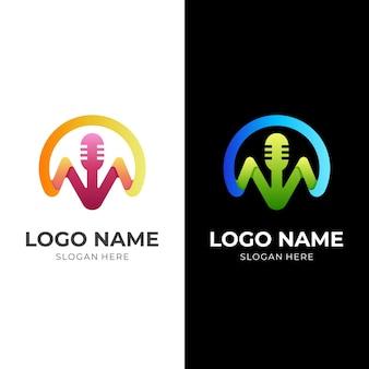 M 레코드 로고, 마이크 및 문자 m, 3d 다채로운 스타일의 조합 로고