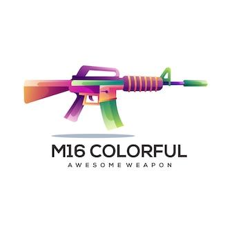 M16 оружие логотип градиент красочная иллюстрация
