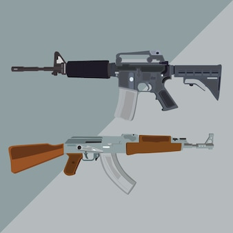M4a1 and ak-47 riffle vector illustration