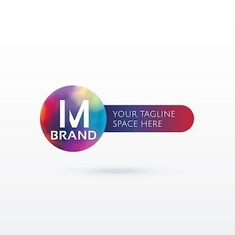 文字m抽象的なロゴコンセプトデザイン