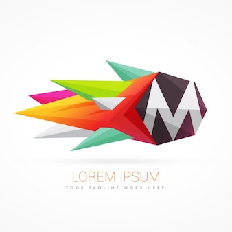 文字mとカラフルな抽象的なロゴ