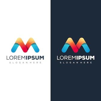 Mの文字ロゴデザインテンプレート