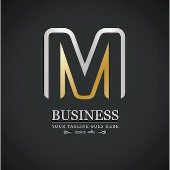 Mレターロゴビジネステンプレートシルバーとゴールデンベクトルのアイコン