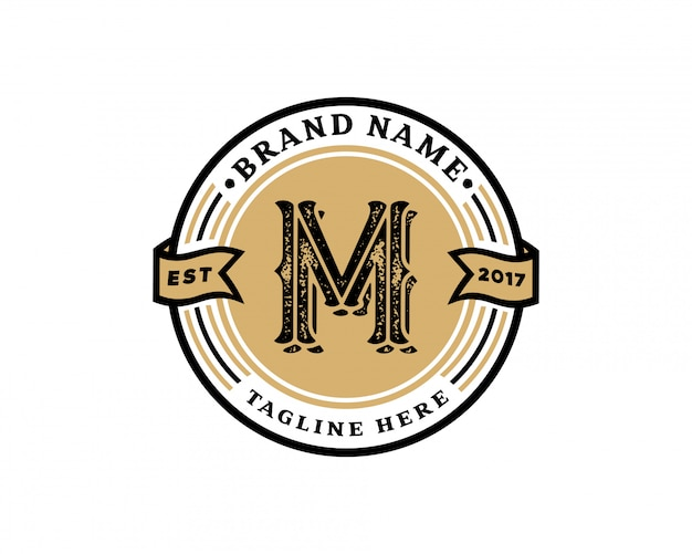Креативная буквица m ретро винтажный хипстер и векторный гранж-дизайн логотипа