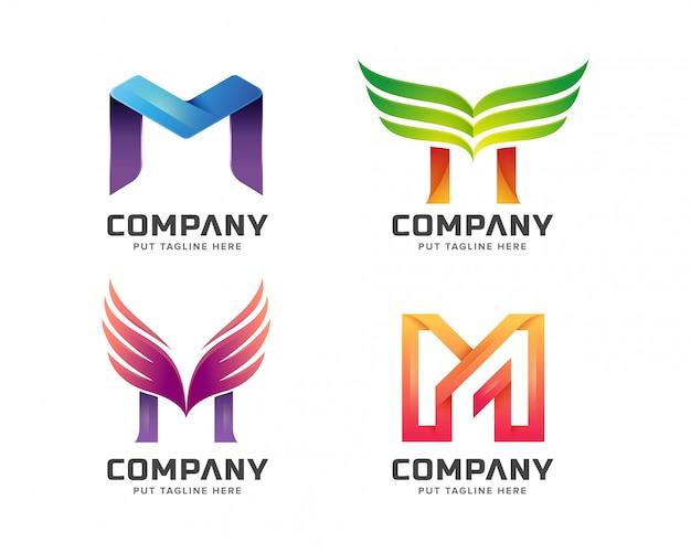 Красочная буквица m с логотипом