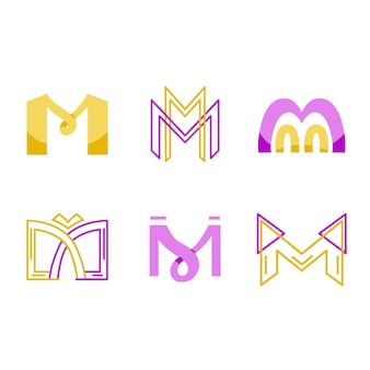 Набор шаблонов логотипа m