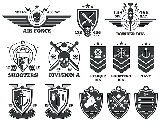 ヴィンテージ軍用ベクターのラベルとパッチ。エンブレムと軍事バッジ、軍とmのパッチ記章