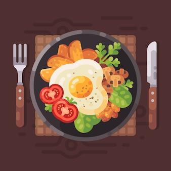 美味しい朝食フラットなベクトルのイラスト。オムレツ、トマト、フライドポテト、m