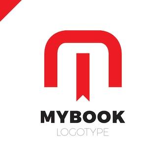 ブックマークとブックシンボルアイコンデザインのテンプレート要素を含むm文字のロゴ