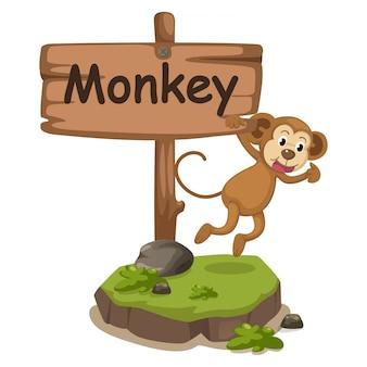 サルの動物のアルファベット文字m