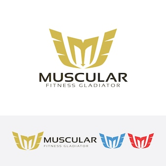 Буквенный логотип m и логотип фитнес-фитнеса