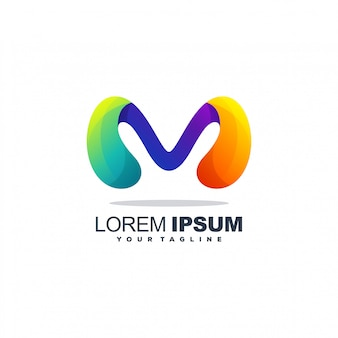 文字mの抽象的なロゴ