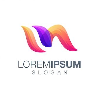 Шаблон логотипа цвета градиента буква m