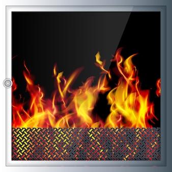 モダンでリアルなハイテク暖炉。現代の技術とma