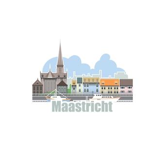 オランダのマーストリヒト市。古代の建築物と川のある街の風景