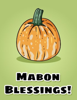 Mabon blessings fall pagan holiday pumpkin postcard