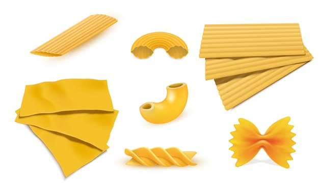 Macaroni pasta icon set