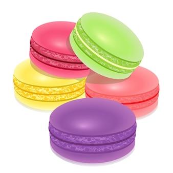 マカロン、白の上のフランスの甘い菓子