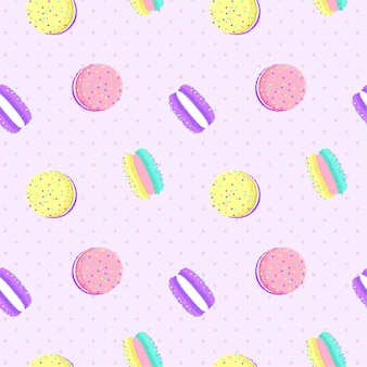 Macarons seamless pattern with dot background.