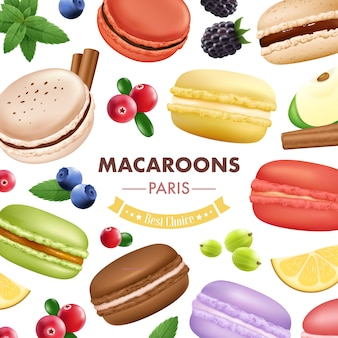 Macaroon composition with isolated almond cookies mint fruits