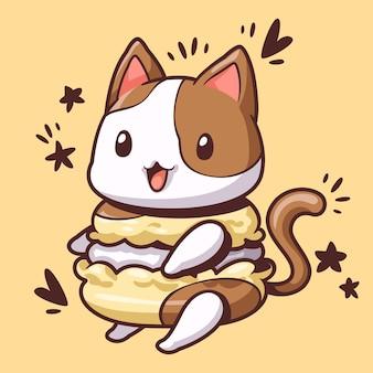 Macaroon and cute cat