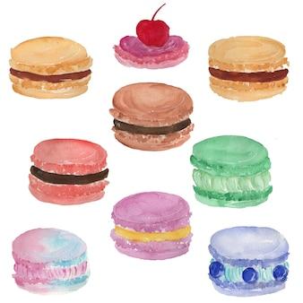 Macaroon food watercolor illustration