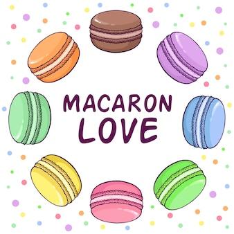 Macaroon illustration in round shape