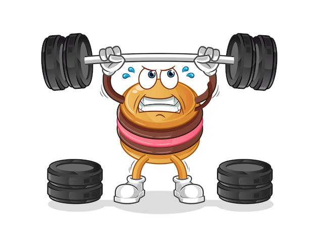 The macaroon lifting the barbell cartoon mascot mascot. cartoon mascot mascot
