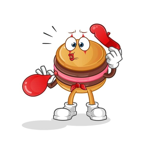 The macaroon pantomime blowing ballooncharacter mascot