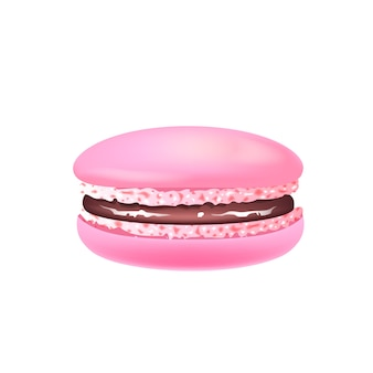 Macaroon, pink almond cookie realistic illustration