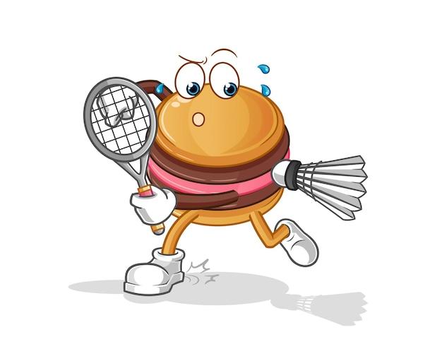 The macaroon playing badminton character mascot