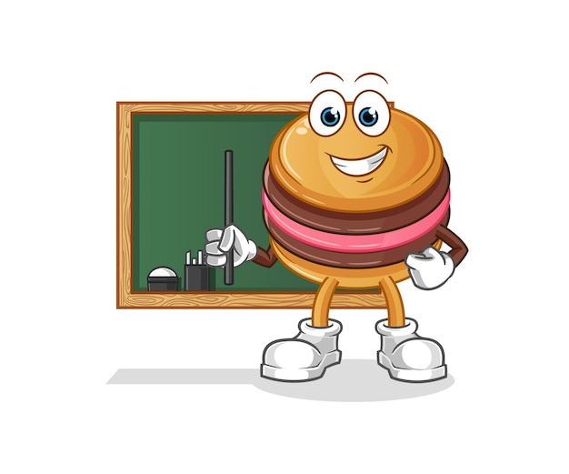 The macaroon teacher character mascot