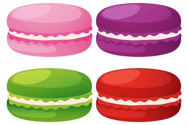 Macaroons in four flavors