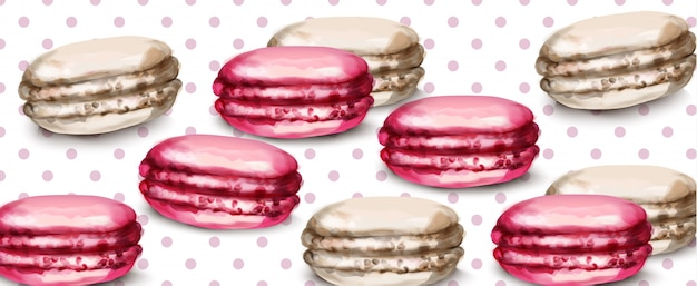 Macaroons retro background watercolor