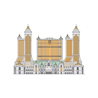 マカオカジノ市内観光のシルエットアイコン、白い背景で隔離のスケッチスタイルの漫画ベクトルイラスト。手描きのアジアの中国建築のランドマーク。